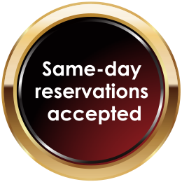 Same-day reservations accepted